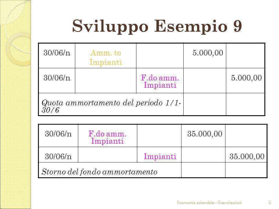 Sviluppo Esempio 9 30/06/n Amm. to Impianti 5.000,00