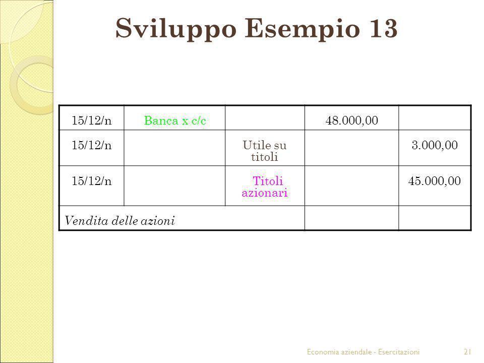 Sviluppo Esempio 13 15/12/n Banca x c/c 48.000,00 Utile su titoli