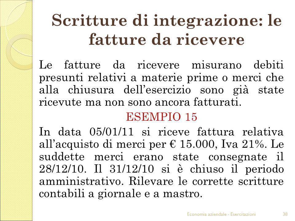 Scritture di integrazione: le fatture da ricevere