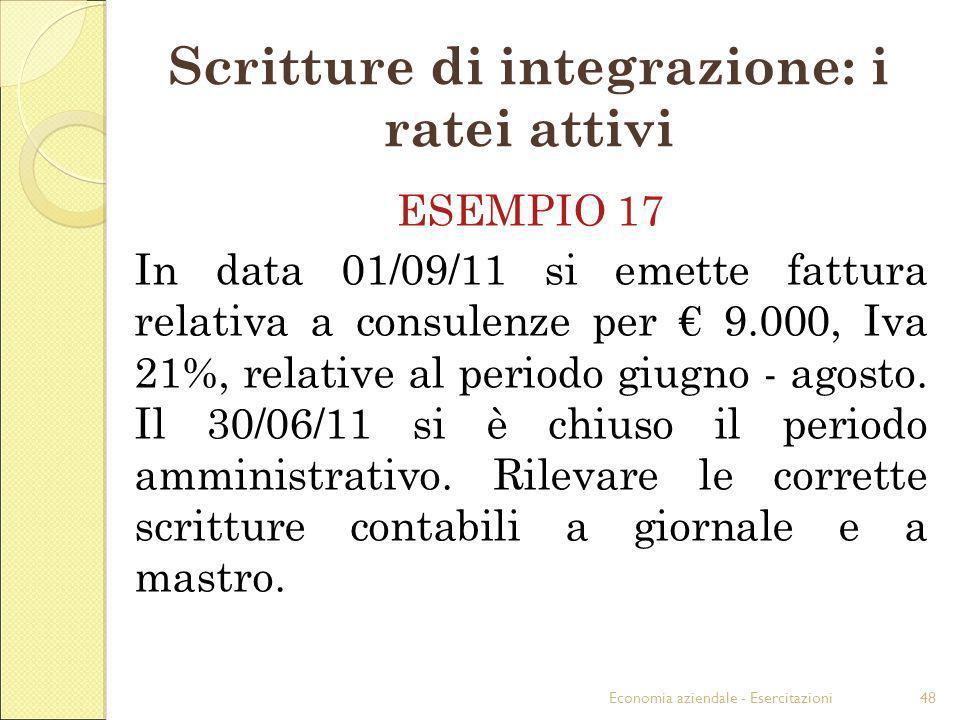 Scritture di integrazione: i ratei attivi