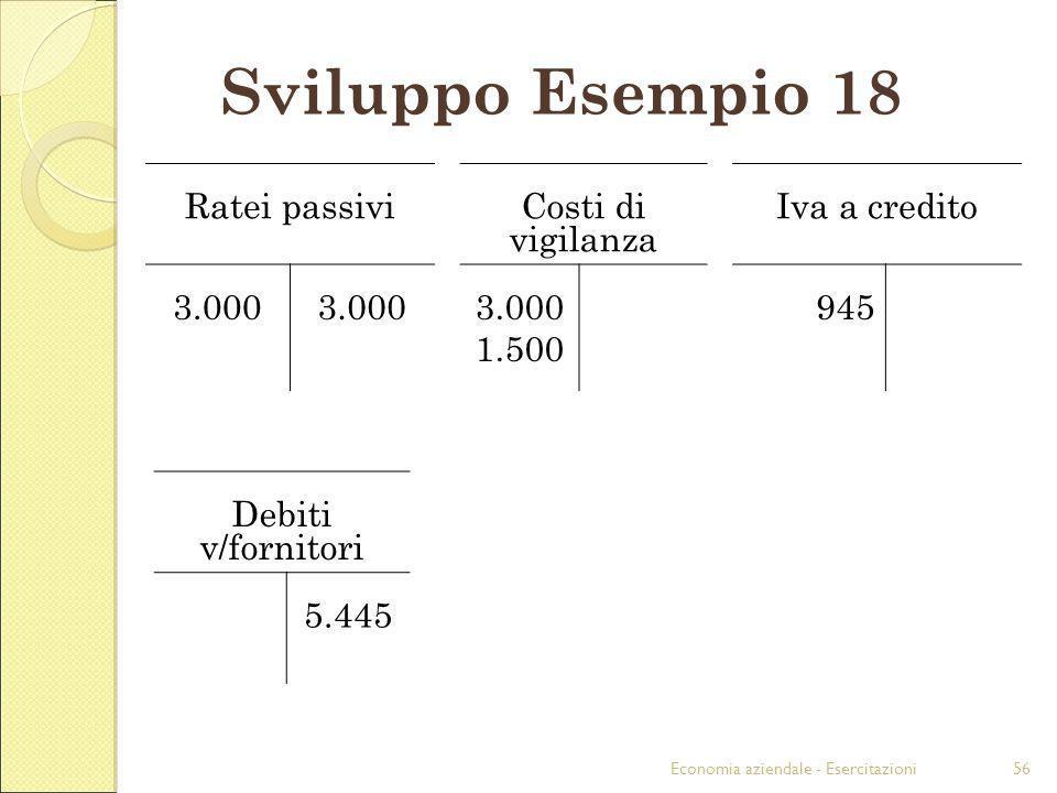 Sviluppo Esempio 18 Ratei passivi Costi di vigilanza Iva a credito