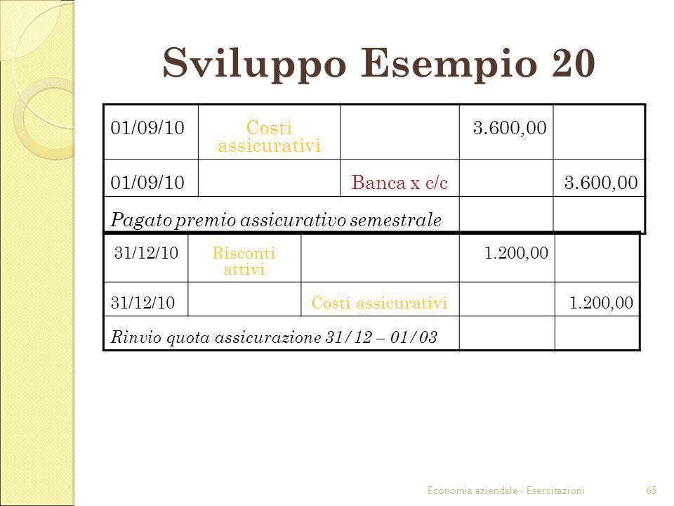 Sviluppo Esempio 20 01/09/10 Costi assicurativi 3.600,00 Banca x c/c