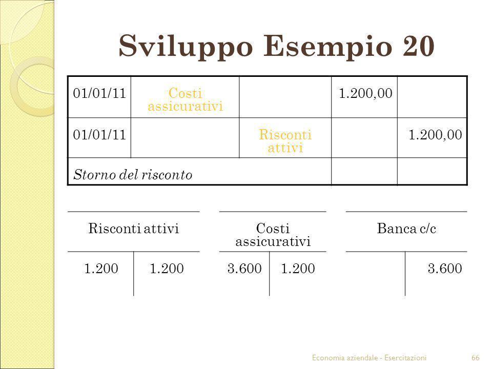 Sviluppo Esempio 20 01/01/11 Costi assicurativi 1.200,00
