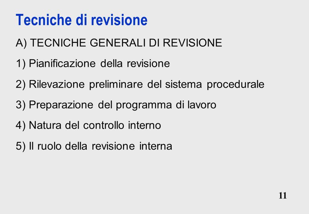 Tecniche di revisione A) TECNICHE GENERALI DI REVISIONE