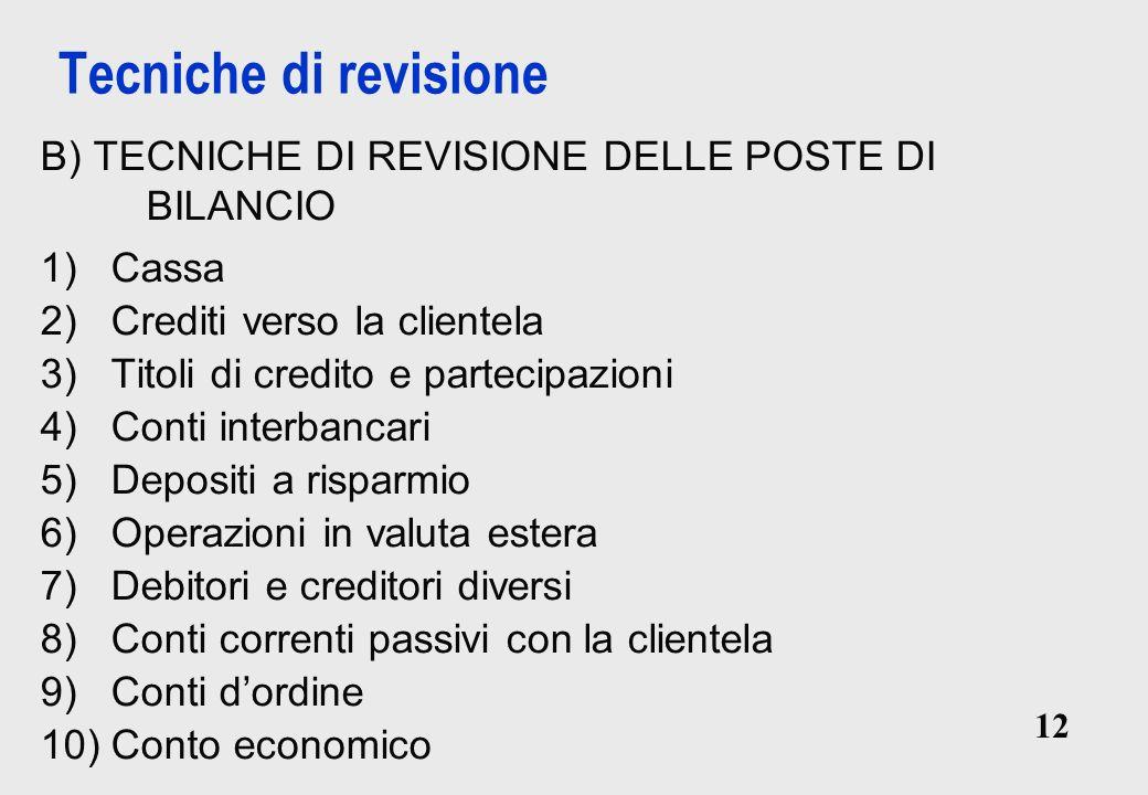 Tecniche di revisione B) TECNICHE DI REVISIONE DELLE POSTE DI BILANCIO
