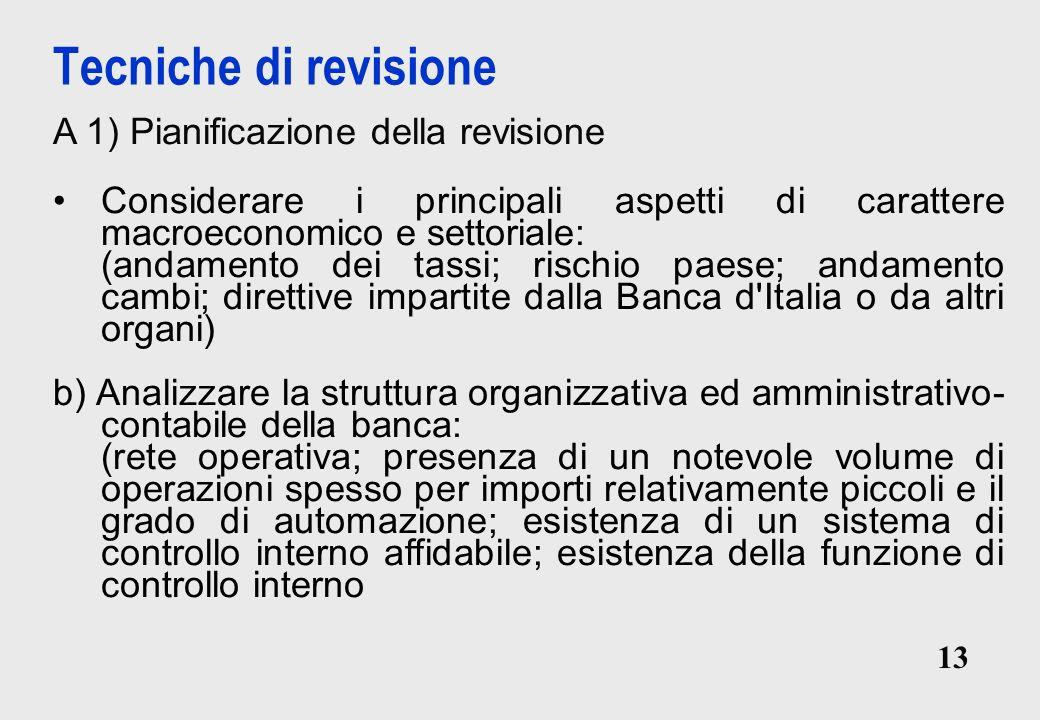Tecniche di revisione A 1) Pianificazione della revisione