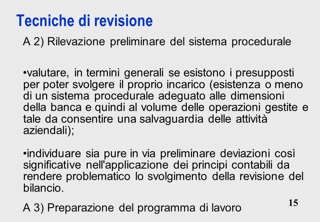 Tecniche di revisione A 2) Rilevazione preliminare del sistema procedurale.