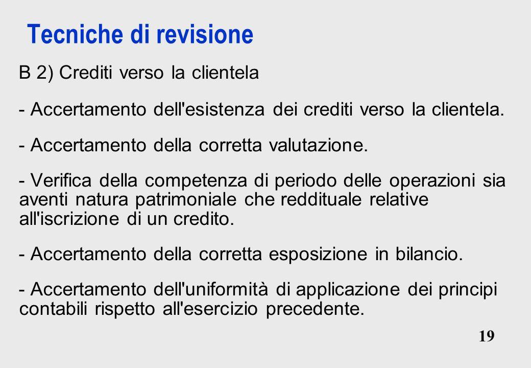 Tecniche di revisione B 2) Crediti verso la clientela