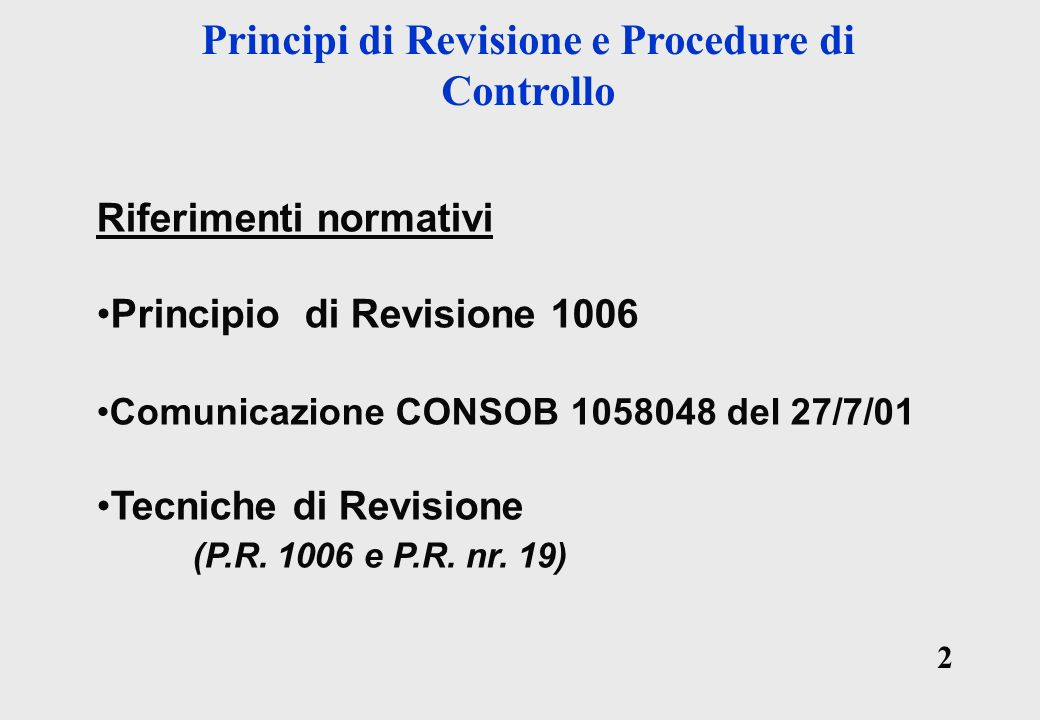 Principi di Revisione e Procedure di Controllo