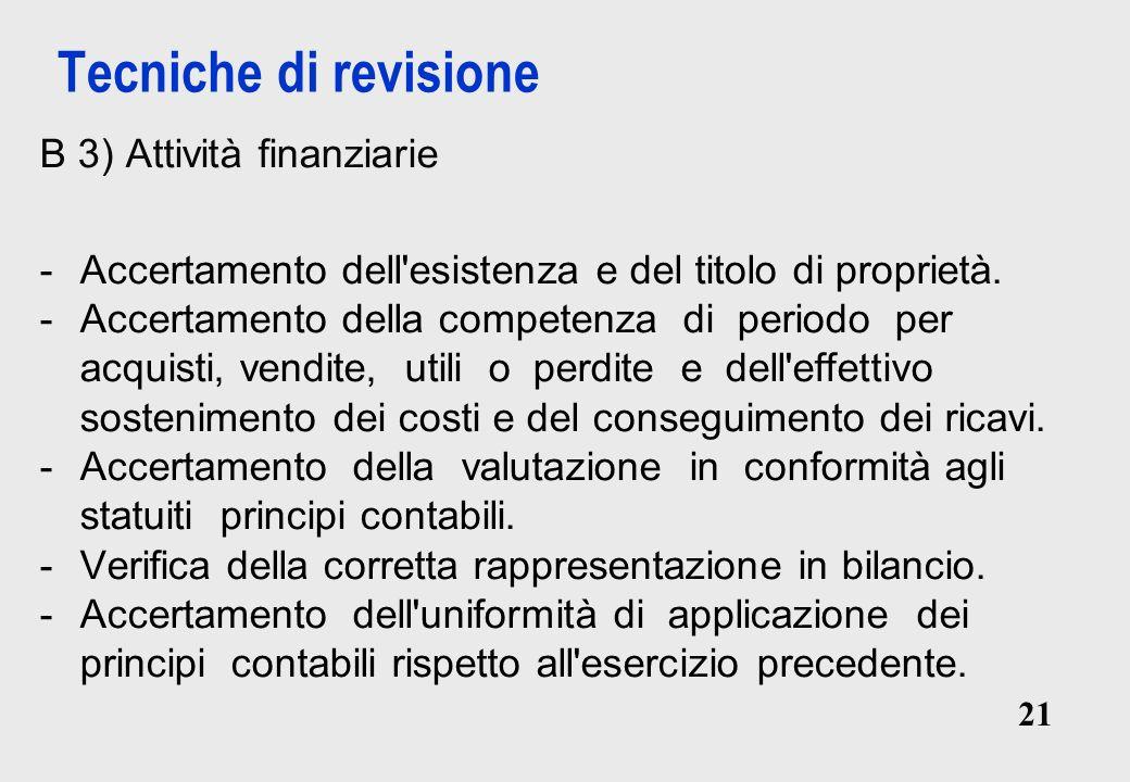 Tecniche di revisione B 3) Attività finanziarie