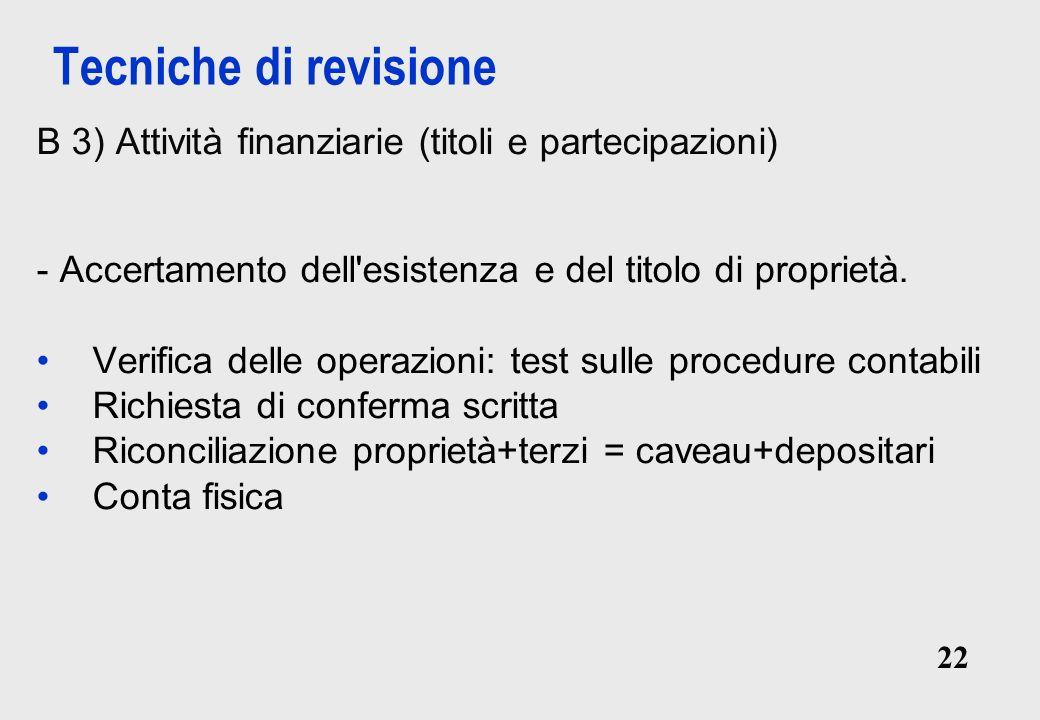 Tecniche di revisione B 3) Attività finanziarie (titoli e partecipazioni) - Accertamento dell esistenza e del titolo di proprietà.