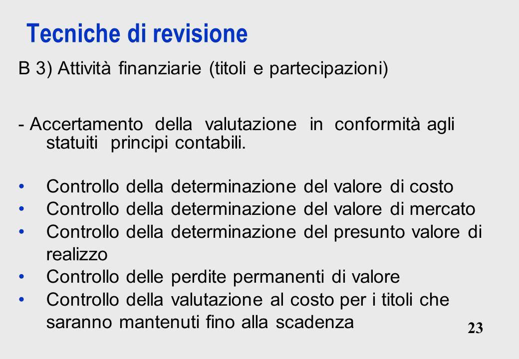 Tecniche di revisione B 3) Attività finanziarie (titoli e partecipazioni)