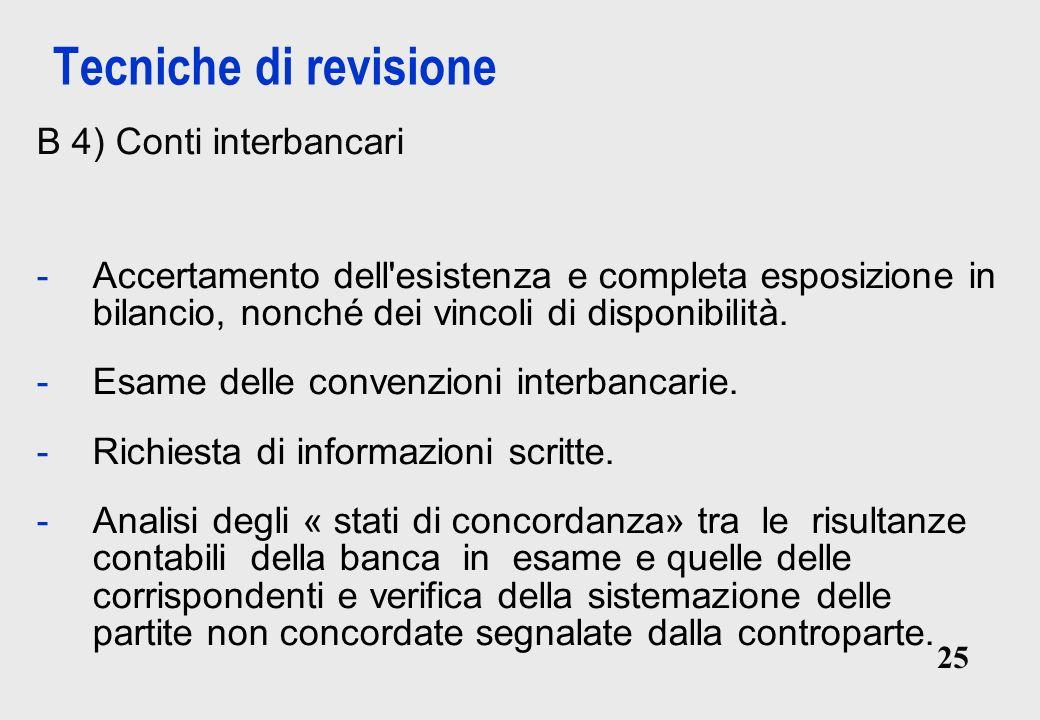 Tecniche di revisione B 4) Conti interbancari