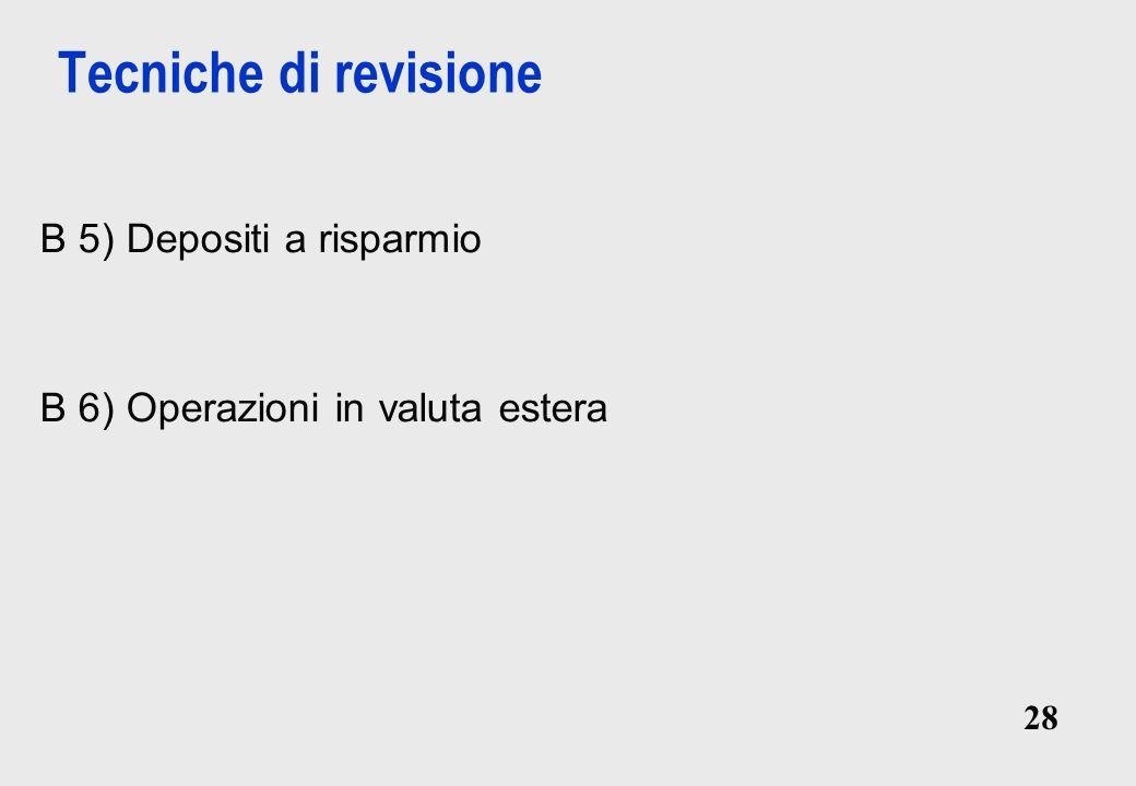 Tecniche di revisione B 5) Depositi a risparmio