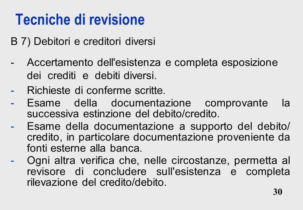 Tecniche di revisione B 7) Debitori e creditori diversi