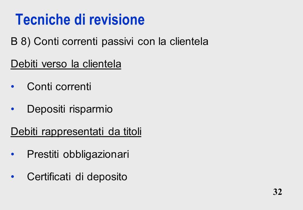 Tecniche di revisione B 8) Conti correnti passivi con la clientela