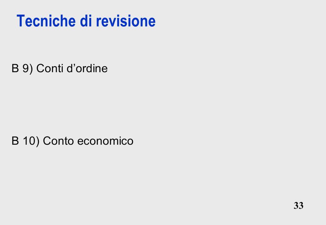 Tecniche di revisione B 9) Conti d'ordine B 10) Conto economico