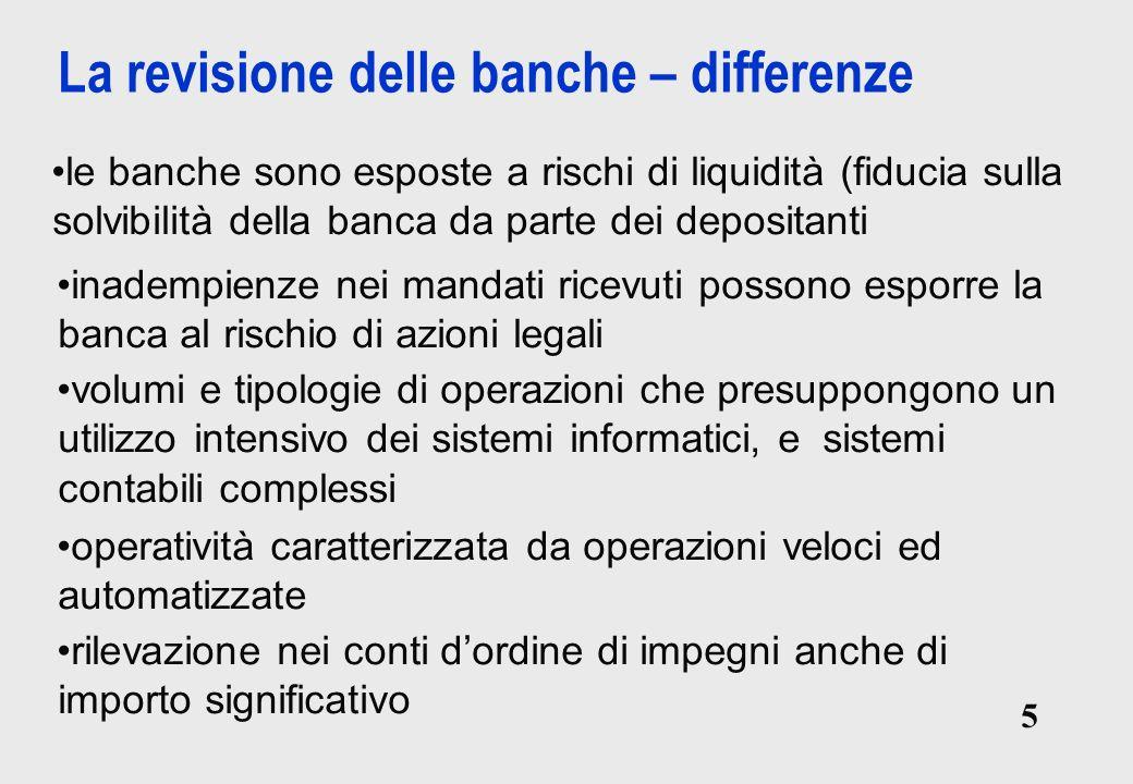 La revisione delle banche – differenze