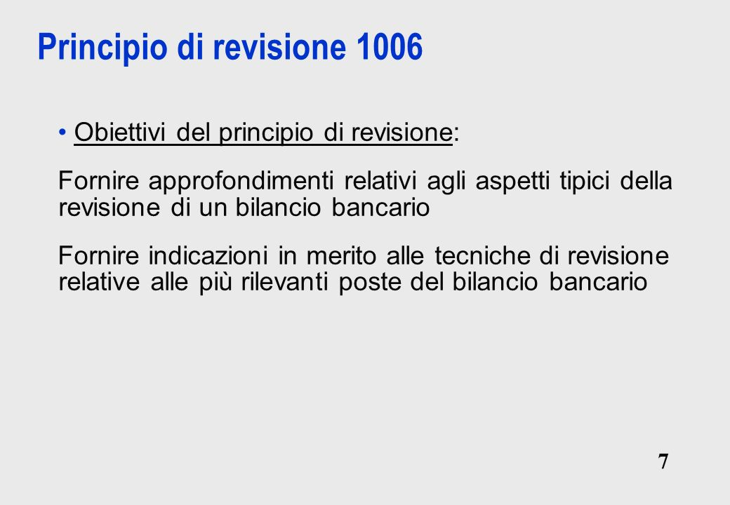 Principio di revisione 1006