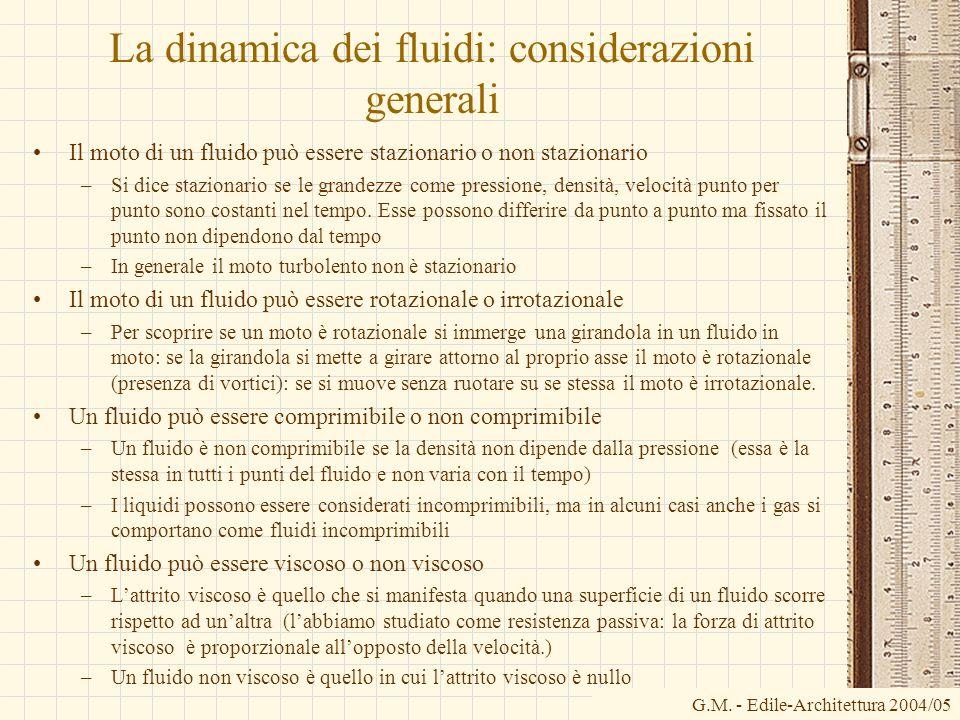 La dinamica dei fluidi: considerazioni generali