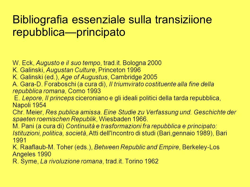 Bibliografia essenziale sulla transiziione repubblica—principato W