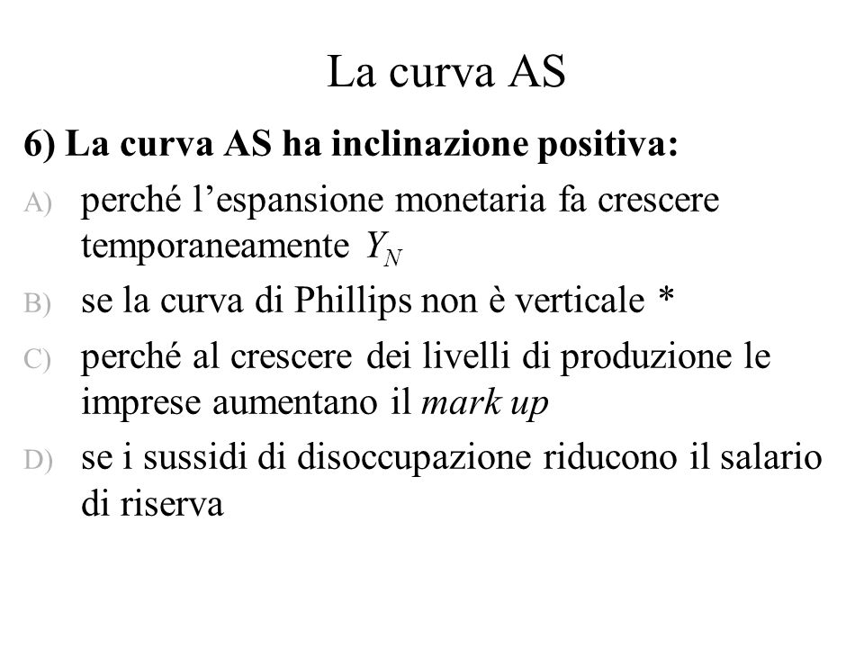 La curva AS 6) La curva AS ha inclinazione positiva:
