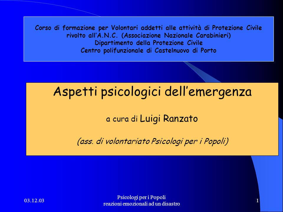 Aspetti psicologici dell'emergenza