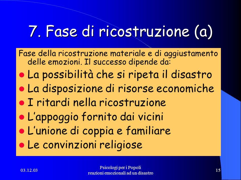 7. Fase di ricostruzione (a)