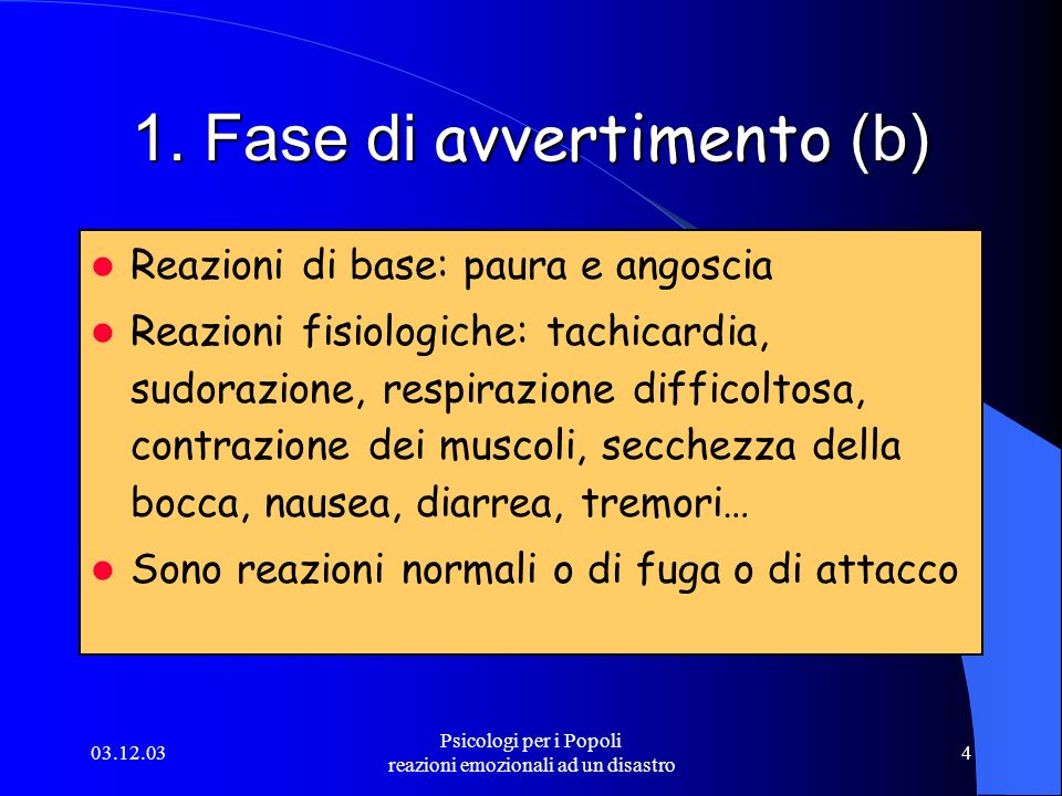 1. Fase di avvertimento (b)