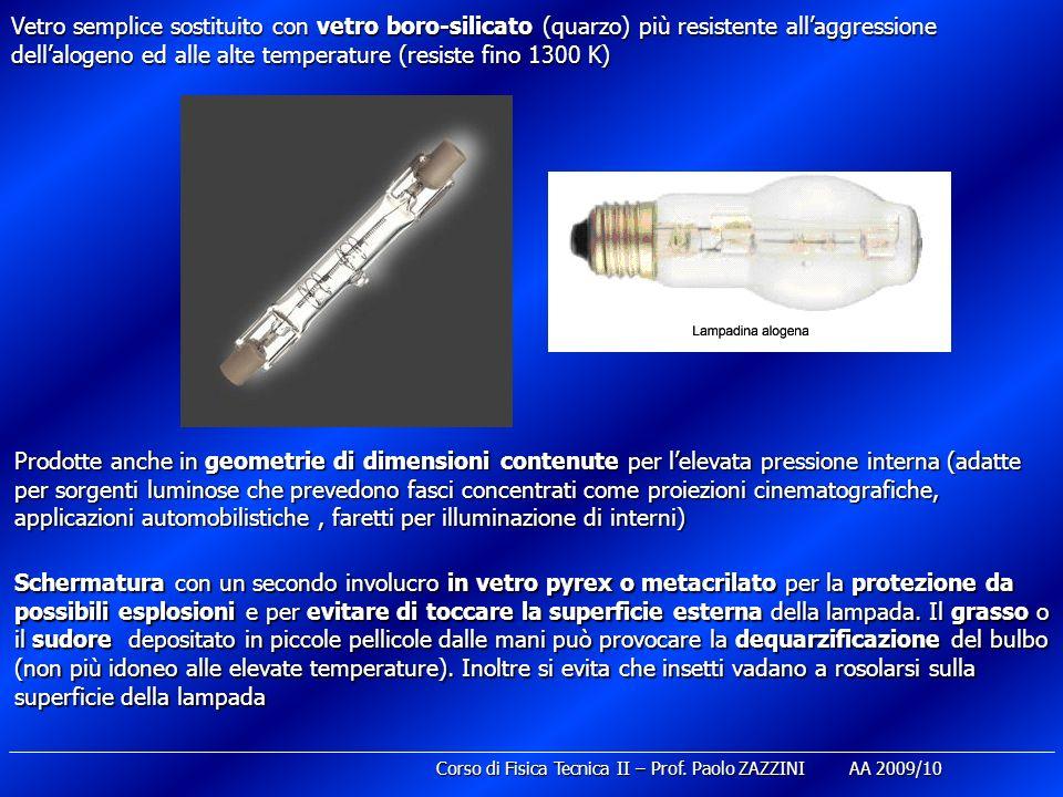 Vetro semplice sostituito con vetro boro-silicato (quarzo) più resistente all'aggressione dell'alogeno ed alle alte temperature (resiste fino 1300 K)