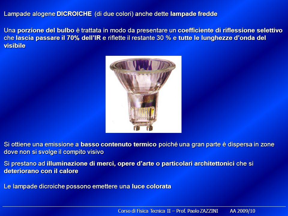 Lampade alogene DICROICHE (di due colori) anche dette lampade fredde