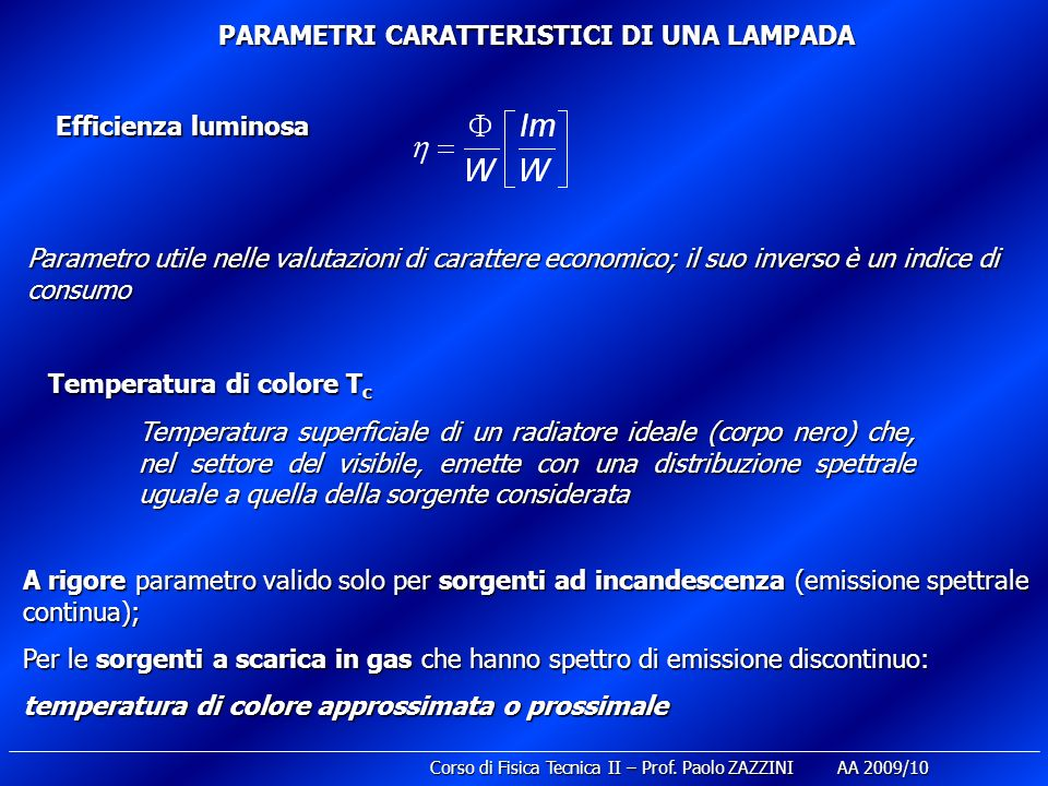 PARAMETRI CARATTERISTICI DI UNA LAMPADA
