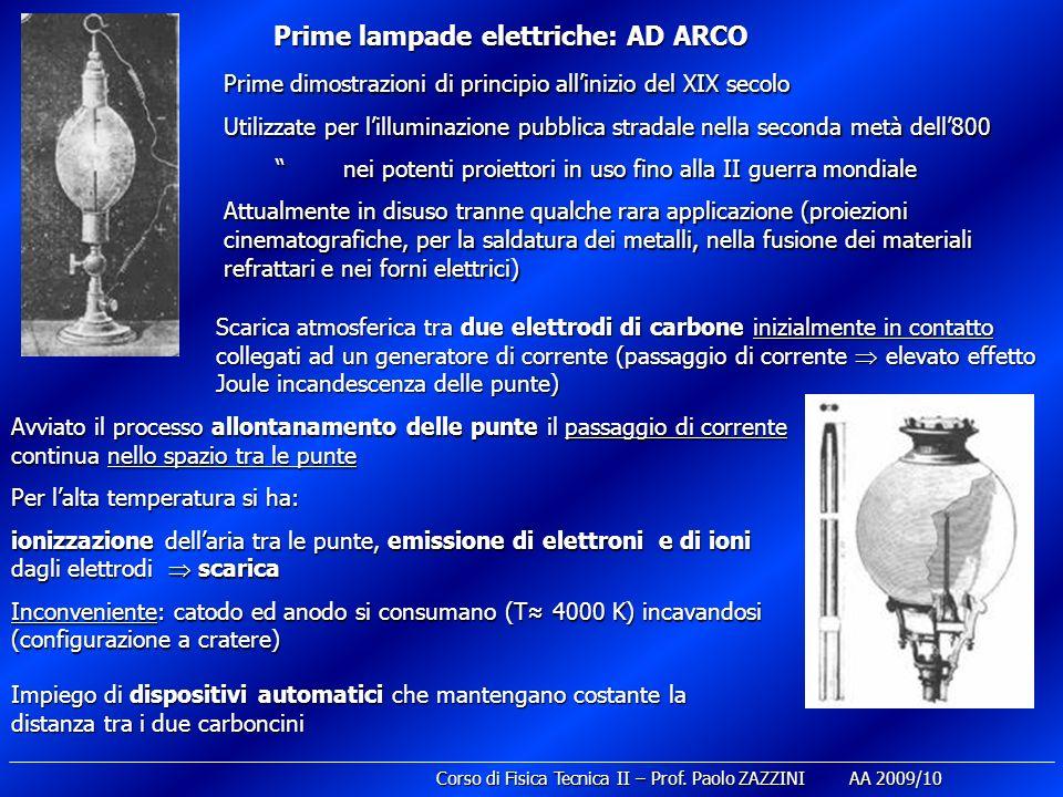 Prime lampade elettriche: AD ARCO