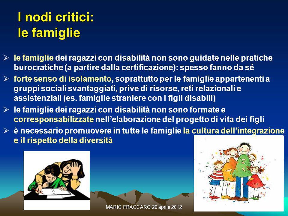 I nodi critici: le famiglie