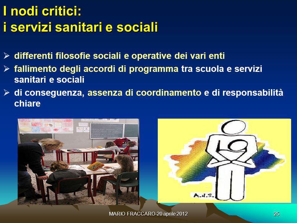 I nodi critici: i servizi sanitari e sociali