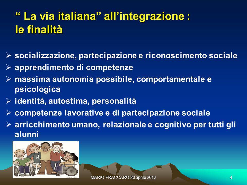 La via italiana all'integrazione : le finalità