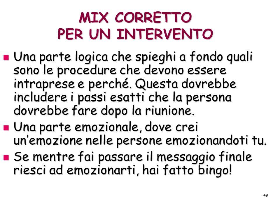 MIX CORRETTO PER UN INTERVENTO