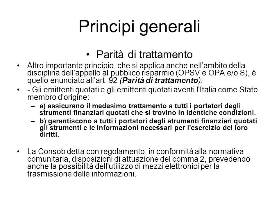 Principi generali Parità di trattamento