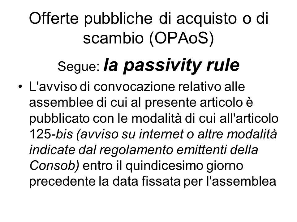 Offerte pubbliche di acquisto o di scambio (OPAoS)