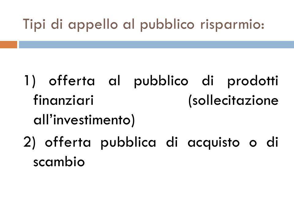 Tipi di appello al pubblico risparmio: