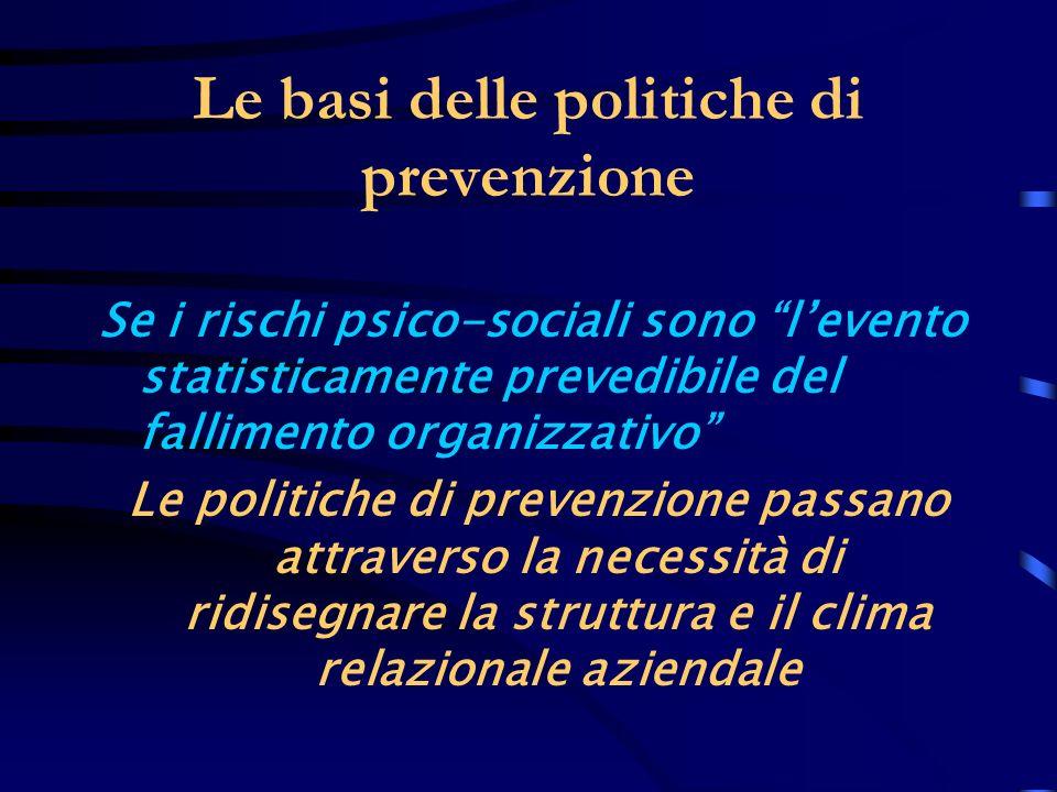 Le basi delle politiche di prevenzione