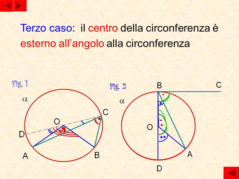 Terzo caso: il centro della circonferenza è esterno all'angolo alla circonferenza