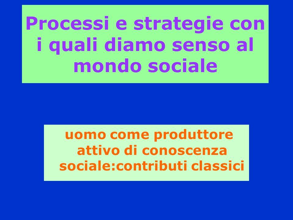 Processi e strategie con i quali diamo senso al mondo sociale