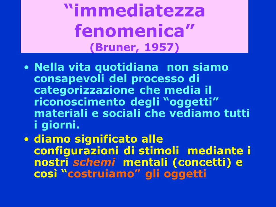 immediatezza fenomenica (Bruner, 1957)