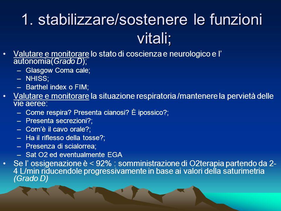 1. stabilizzare/sostenere le funzioni vitali;