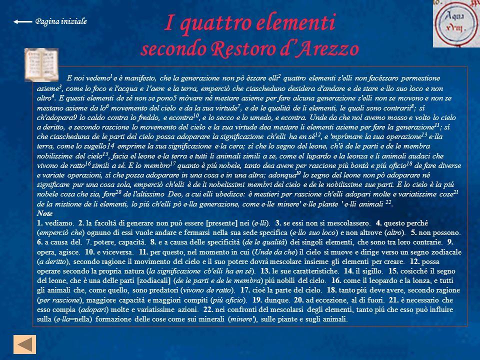 I quattro elementi secondo Restoro d'Arezzo