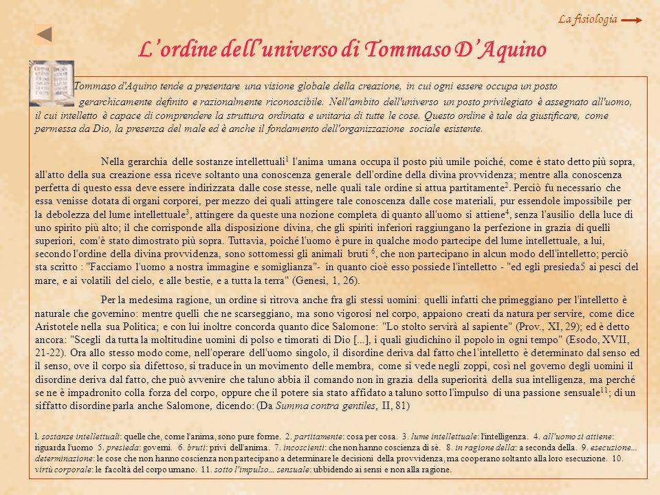 L'ordine dell'universo di Tommaso D'Aquino