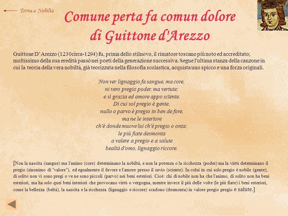 Comune perta fa comun dolore di Guittone d Arezzo