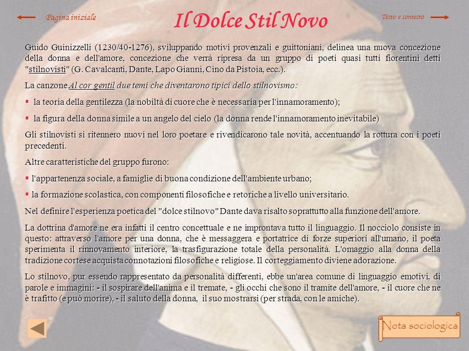 Il Dolce Stil Novo Nota sociologica Pagina iniziale