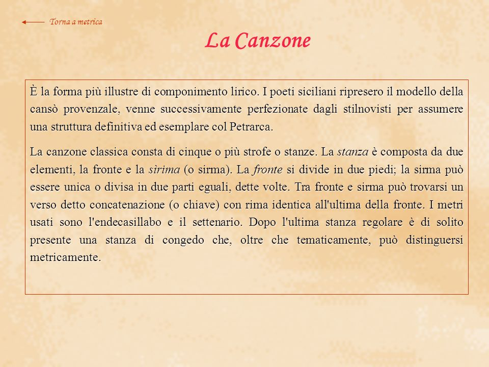 Torna a metrica La Canzone.